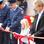 From left, Merv Neil, Cameron Grylls, Emma Frengley and Dr Rob Frengley cut the ribbon around the memorial