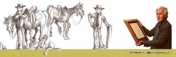 Cartoonist David Henshaw and his alter ego, Jock.
