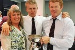 ND cricketer of the year Scott Kuggeleijn, centre, with his mother Jenny Scown and coach James Pamment