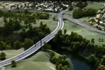 A digital rendition of a proposed Waikato River bridge alongside Hamilton Gardens.