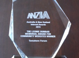 The trophy recognising Tamahere Forum's ANZIA win.