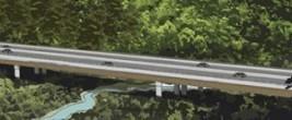 An artist's impression of a bridge across a gully