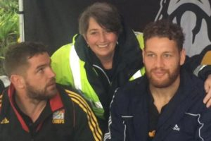 Tamahere Market organiser Jane Manson, with Chiefs players who visited the market last year