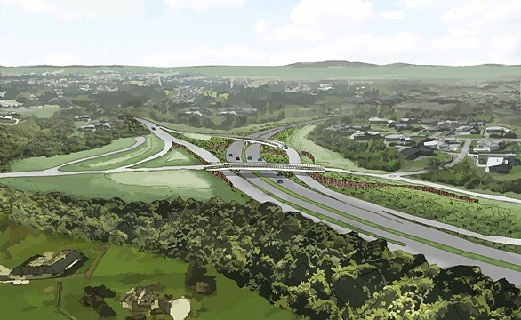 A bird's eye view of the Waikato Expressway interchange at Cherry Lane