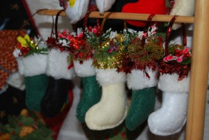 Home-made Christmas decorations fill the church hall