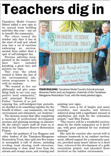 The Cambridge Edition reports Tamahere teachers' work in the Tamahere Reserve