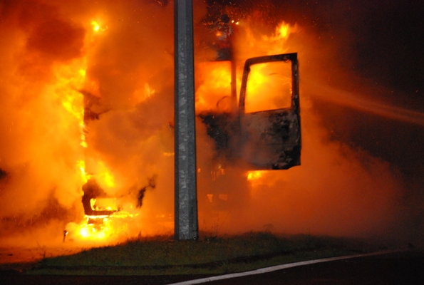 A Bublitz Transport truck bursts into flames on SH1, Tamahere