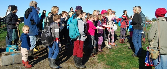 Students gather to hear that their work will restore native plants and birds to Tamahere