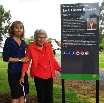 Jack Foster's wife, Eileen, (right) and daughter Sue Tanner at the unveiling of the Jack Foster Reserve sign in Matangi