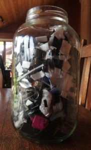 Eight weeks' worth of rubbish in Annette Taylor's jar.