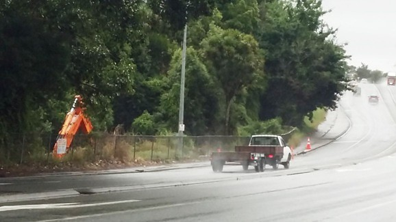 Heavy machinery is working to reconstruct the Dreadnought Culvert under SH1 north of the Newell Rd intersection