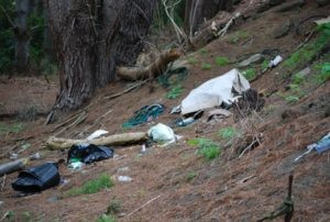 Rubbish is strewn across the site and down a bank