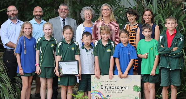 Mayor Allan Sanson, third from left, with eco-warriors from Tamahere School, their teachers and Enviroschools representatives.