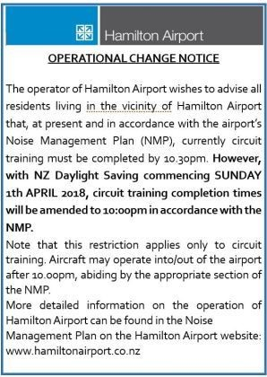 Click for Airport noise management plan