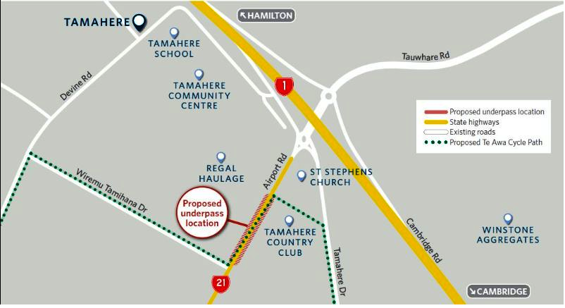 Map of Tamahere underpass
