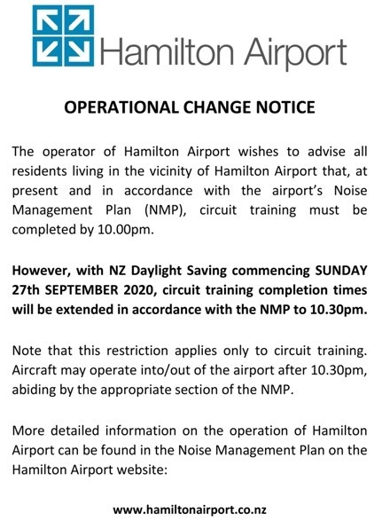 Airport operational change notice