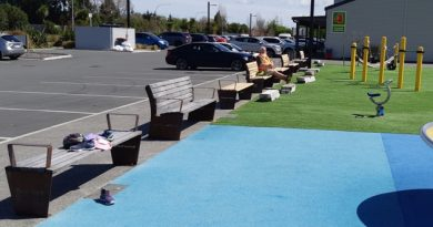 Seats line up at playground
